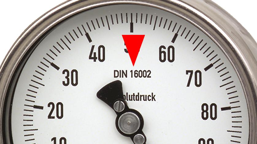 standard for absolute pressure gauges: DIN 16002